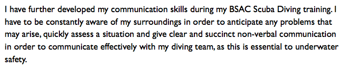 Scuba Diving Example - Using Hobbies in Cover Letters