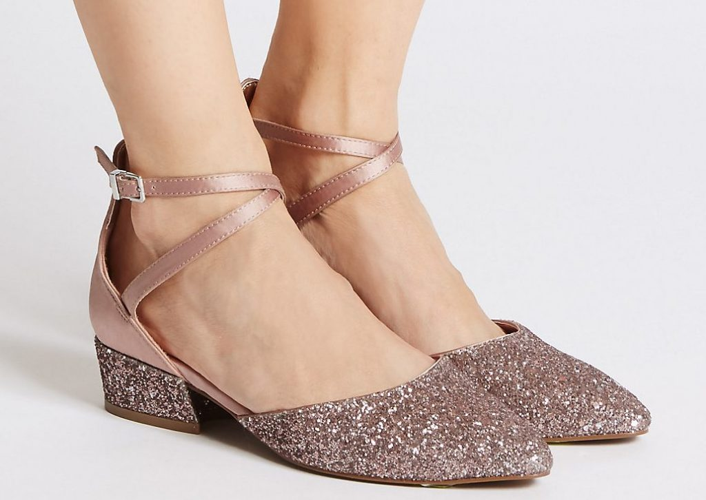 Blush Sparkle Shoes on Model available from Marks & Spencers
