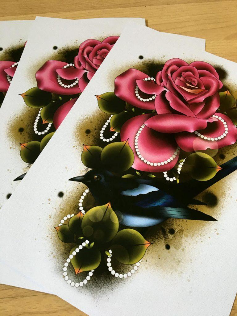ATinyMew Magpie Tattoo Art Print